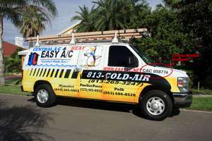 Easy AC repair truck with license number